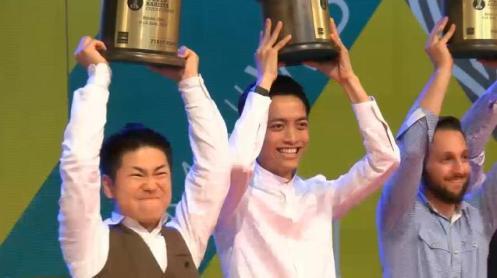 2014 WBC世界冠軍,左起第一名日本Hidenori Izaki,第二名香港Kapo Chiu,第三名希臘Christos Loukakis